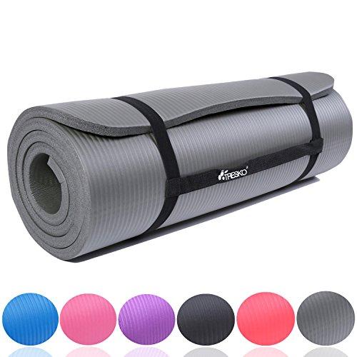 TRESKO Fitnessmatte Yogamatte Pilatesmatte Gymnastikmatte 6 Farben/Maße 185cm x 60cm in 2 Stärken/Phthalates-getestet/NBR Schaumstoff/hautfreundlich, kälteisolierend (Grau, 185 x 60 x 1.5 cm)