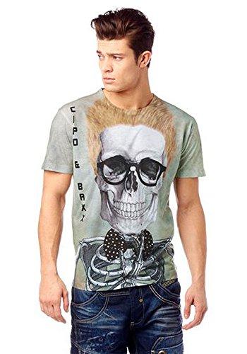 Cipo & Baxx Herren T-Shirt Skelet Grün