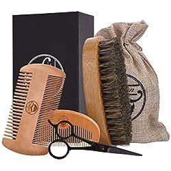Kit para el Cuidado de la Barba para Hombres. ARTIFUN Peine para Barba de Madera, Cepillo de pelo de Jabalí, Tijeras para Barba de Acero Inoxidable y Bolsa de Algodón - Set perfecto para Hombres.