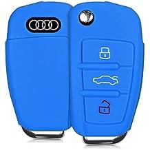 kwmobile Funda de silicona para llave plegable de 3 botones para coche - cover de llave - key case en azul
