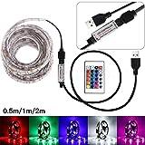 Led Stripes, Gusspower USB Powered 5V 5050 RGB Weiß Led Streifen Lichterkette Licht Streifen mit 24 Schlüssel-Fernbedienung für Weihnachten Kicthen Party Innen- und Außendekoration (0.5M)
