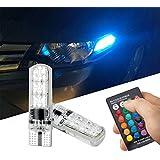 FEZZ Coche LED Bombillas Atmosfera Luz T10 5050 6SMD RGB Silicona para Auto Marcador lateral Indicador Lectura de la bóveda Placa de matrícula Luces Lámparas con mando a distancia Strobe