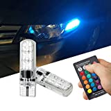 FEZZ Car LED Bulbs Atmosphere Light T10 5050 6SMD RGB Silicone for Auto Side marker Indicator Dome Reading License plate Lights Lamps with Remote Controller Strobe
