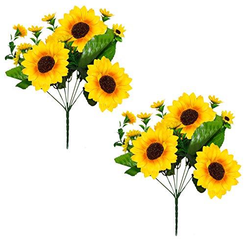 Künstliche Sonnenblumen (2er Set) Seidenblumen – 4 Große 10cm / 9 Kleine 4cm – Kunst Sonnenblumenköpfe mit Blättern – Unechter Blumenstrauß für Blumen Arrangements, Vase,