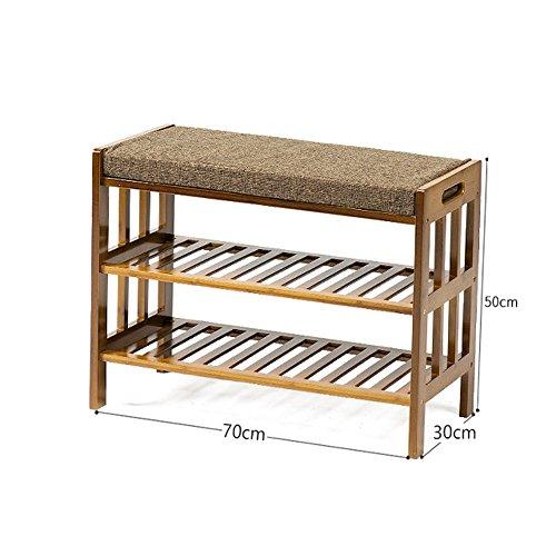 Schuhregal YNN Bambusschuh-Bank 2-stufiger Sitzkissen-Speicherbank für Schlafzimmer-Flur-Eingang (Größe : 70cm) (Bank Schlafzimmer Nussbaum)