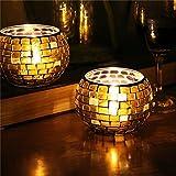 Inovey artigianato mosaico vetro colori striscia candela portacandele candelabro Home Decor regalo