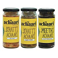 The Achaari Homemade Mango Pickle (Pack of 3) (Khatti Achaari Red Chilli, Khatti Achaari Black Pepper & Meethi Achaari)