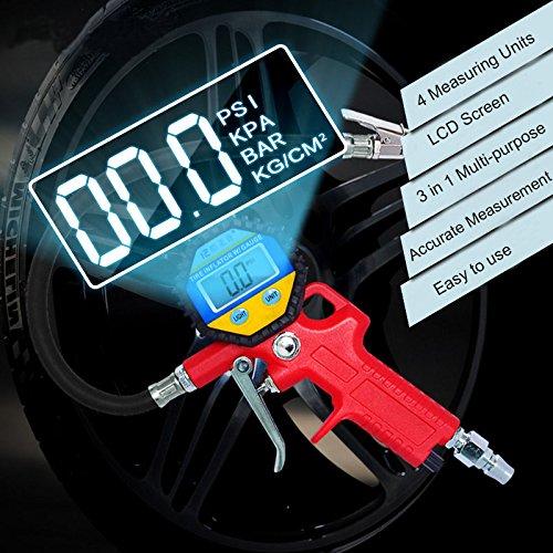 YZCX-Manometro-Digitale-LCD-Alta-Precisa-Pistola-Gonfiaggio-per-Pressione-Pneumatici-150PSI-Batteria-Inclusa-per-Auto-Moto-Camion-Bici
