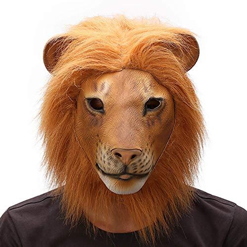 OuYangs Lion Head Maske, Halloween Tier Cosplay, Overhead Animal Lion Kostüm, Neuheit Fancy Halloween Realistische Naturlatex Lion Head Maske, Vollkopf Lion Mask, Latex Tierkopfmaske - Close-Mouthed Lion