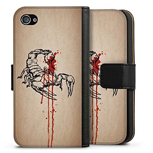 Apple iPhone X Silikon Hülle Case Schutzhülle Skorpion Halloween Gift Sideflip Tasche schwarz