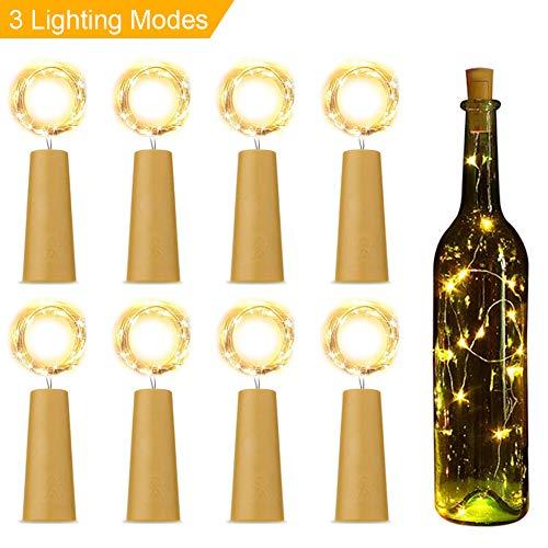 (LED Flaschen-Licht Warmweiß, LEHXZJ Aktualisierte Version mit 3 Beleuchtungsmodi, 20 LEDs 2M LED Lichterketten für Weinflasche DIY, Party, Dekor, Weihnachten, Halloween, Hochzeit)