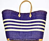 Blue raffia matting striped bag