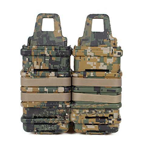 haoYK Tactical Airsoft Double FAST Anbringen MP7 MAG Magazintasche Molle Holsterhalter Set Camo (DW)
