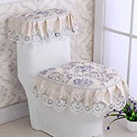 MEI Alfombrillas Alfombrillas antideslizantes Juego de tres asientos de tela de baño Funda de asiento de inodoro Cojines de asiento Funda de asiento de inodoro de tres piezas ( Color : T )