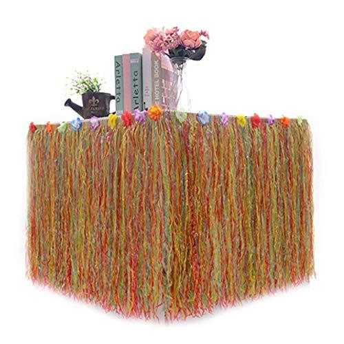 KAIFANG Hawaiian Dekorationen Bundle of 1Beige Gras Tisch Rock + 30Hibiscus Blumen + 12Tropischen Blättern. Hula, Luau, Maui, Hawaii, SEMO2002Mottoparty Deko Set