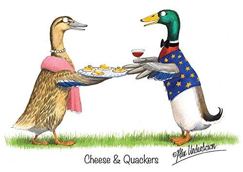 Ente Grußkarte Käse und Quackers von Alex Underdown