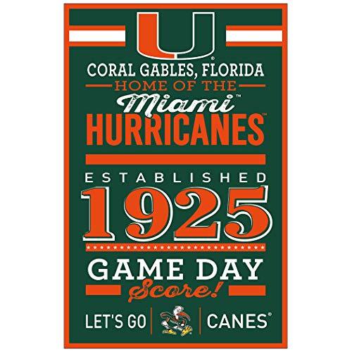 Wincraft NCAA Miami Hurricanes SignWood Established Design, Teamfarbe, 11 x 17 cm