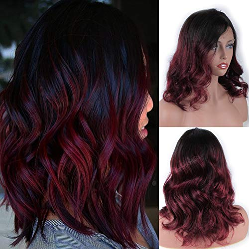 Glueless Lace Front Wigs Human Hair Side Part Peruvian Virgin Human Hair Wig Wavy Pre Plucked with Baby Hair Short Ombre Lace Wig for Black Women 12inch -