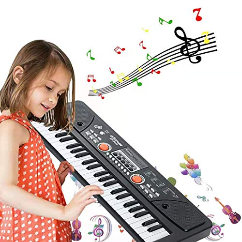 Tastiera Musicale 49 Tastiera Elettronica Portatile, Tastiera Pianoforte Multifunzione, Pianoforte Musicale Bambino Musicale Tastiera Elettronica con Microfono per Bambini Regalo