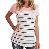 MRULIC Frauen Kurzarm Dreifach Farbe Block Streifen T-Shirt Casual Bluse Damen Shirt Weisse Bluse (EU-38/CN-M, Y-Rosa)