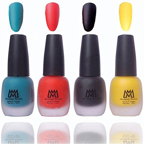 Makeup Mania Premium Nail Polish, Combo of 4 Velvet Matte Nail Paint - Blue, Red, Black, Yellow, 12 ml each bottle (MM#20)