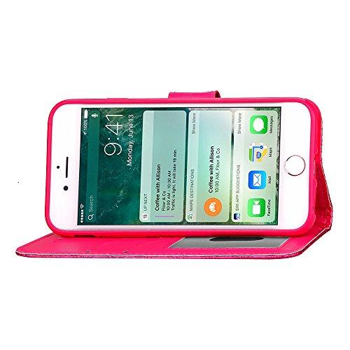 Cuitan 3D Rhombus Gitter PU Leder Flip Schutzhülle Hülle für Apple iPhone 7 (4,7 Zoll), Weiche Innen Hülle mit Kartenfach und Standfunktion Doppelt Magnetverschluss Case Cover Etui Handytasche Handyhü Rose Rot