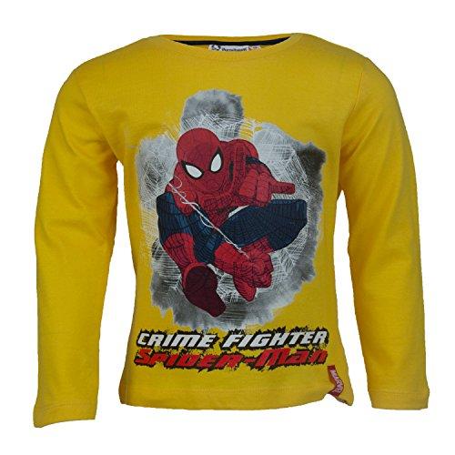 der Langarmshirt aus 100% Jersey Baumwolle, Spider-Man Langarm T-shirt für Jungen - Shirt Farbe: Gelb, Größe: 114 (Spider Man Boy Kostüm)