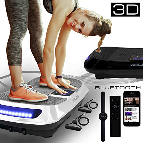 XPLON Vibrationsplatte 3D VX5 Vibration Platte Leistungsstark mit 2 leisen AC Motoren Curved Design Trainingsbänder Fernbedienung Bluetooth Musik LED belastbar 150kg schwarz Weiss