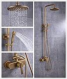 Sccot - Sistema doccia, montaggio a parete, con miscelatore per doccia con soffione a pioggia, doccetta manuale, corrimano da parete, risparmio idrico, protezione dalle scottature, Ottone anticato