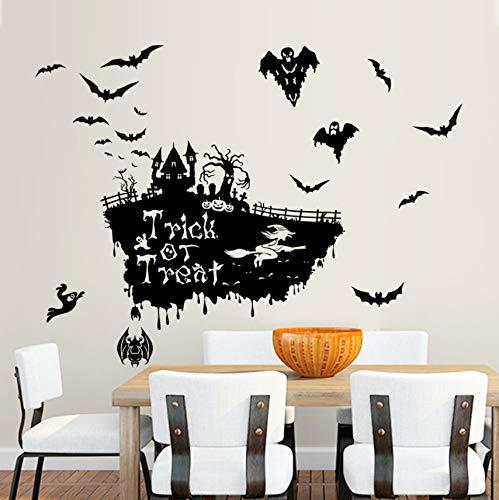 Hexe Schädel Kürbis Wandaufkleber Happy Halloween Day Süßes oder Saures Fenster Dekoration Festival Wandtattoos Poster ()