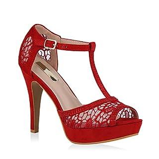 Stiefelparadies Damen Plateausandaletten Spitze T-Strap Sandaletten Party Schuhe 111305 Rot 40 Flandell