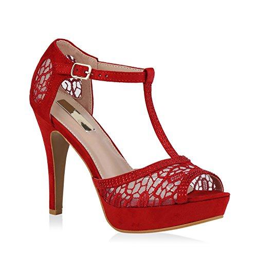 Stiefelparadies Damen Plateausandaletten Spitze T-Strap Sandaletten Party Schuhe 111305 Rot 39 Flandell