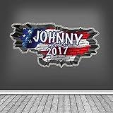 Personalisiert 3D Multi Farbe Graffiti Personalisierter Name USA Flagge Patriot ausgebrochenes Ziegelstein Optik WAND KUNST Aufkleber für Teenager Mädchen Jungen wsdpgn136