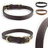 Pear - Tannery Mini Line Hundehalsband aus weichem Vollrindleder, klassisch, XXXS 18-25cm, Schokoladenbraun