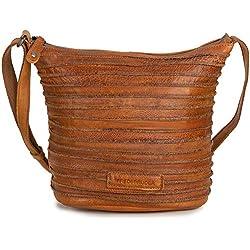 Fredsbruder Damen Umhängetasche braun Riffelinchen kleine cognac braune Leder Beuteltasche Handtasche klein Tasche Schultertasche Crossbody