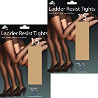 Pretty Legs 15 Denier Ladder Resist Tights with Lycra Fusion (2 Pair Pack) (S/M (34