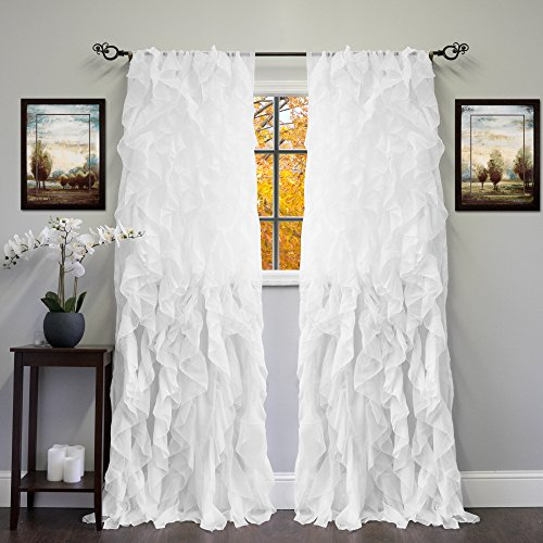Sweet Home Collection 2 Pack Window Panel Sheer Voile Vertical Ruffled Waterfall Curtains, 96