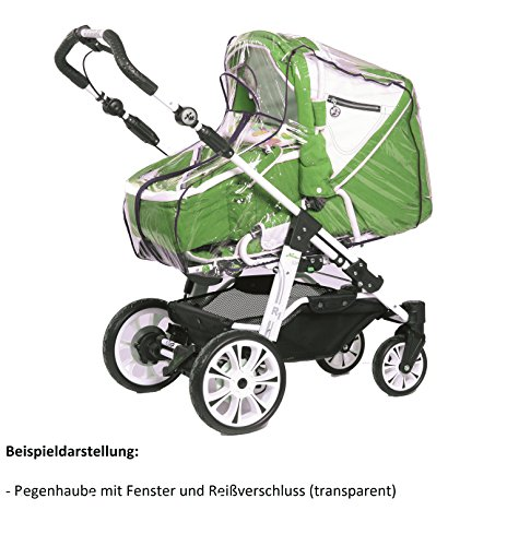 Smart-Planet® hochwertige Universal - Regenhaube / Regenschutz mit Reißverschluss und Fenster --- Regenverdeck aus PVC ohne schädliche Weichmacher - Verdeck passend für Kinderwagen Farbe transparent