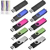 TEWENE 10 Stück 16GB USB Stick 2.0 Speicherstick High Speed Metall (Mehrfarbig-1)