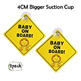 Maglory Baby On Board Sign For Car With 4CM Bigger Suction Cup, Safety Warning Sticker, 2 Pack Cute Diamond Shape Little Lion Design Per Pack