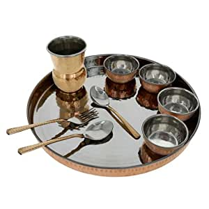 Traditional indian copper dinnerware set for 4 includes 4 for Kitchen set video in hindi