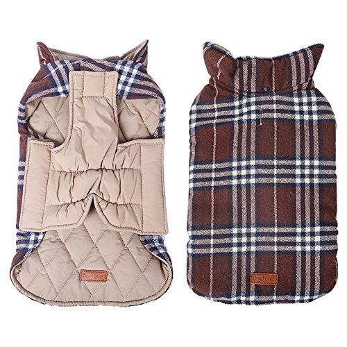 Kimfoxes Hundekleidung Hundemantel Hundejacke Hundepullover Warm Winter für kleine und große Hund reversibel, Plaid (XS - 3XL)