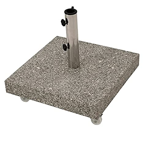 Schirmständer aus massivem Granit 50kg, mit vier gebremsten Rollen,