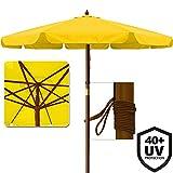 Deuba Sonnenschirm • UV-Schutz 40 Plus • Holz • Ø 350cm • Gelb • stabile Verstrebungen • wasserabweisend - Gartenschirm Terrassenschirm Marktschirm Holz-Sonnenschirm