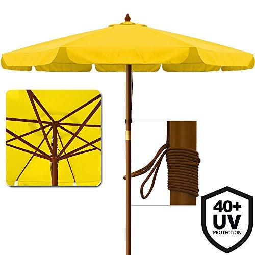 Deuba Sonnenschirm UV-Schutz 40 Plus Holz Ø 330cm Gelb Stabile Verstrebungen Wasserabweisend - Gartenschirm Terrassenschirm Marktschirm Holz-Sonnenschirm