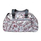 Borsa in tela cerata - Weekender bag - Borsa da viaggio, per la piscina, sauna, fitness per donna impermeabile, multicolore, vintage, fiori Hanami argento