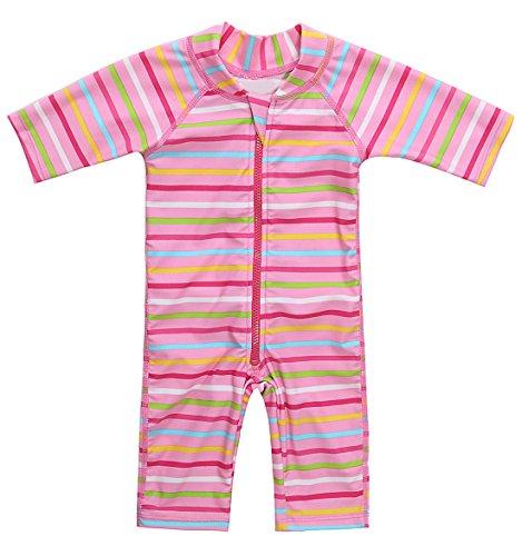 CharmLeaks Baby - Einteiler Streifen Badeanzug für Säugling Kinder Kurzarm UV-Schutz 50+ Rosa 3-6 Monate