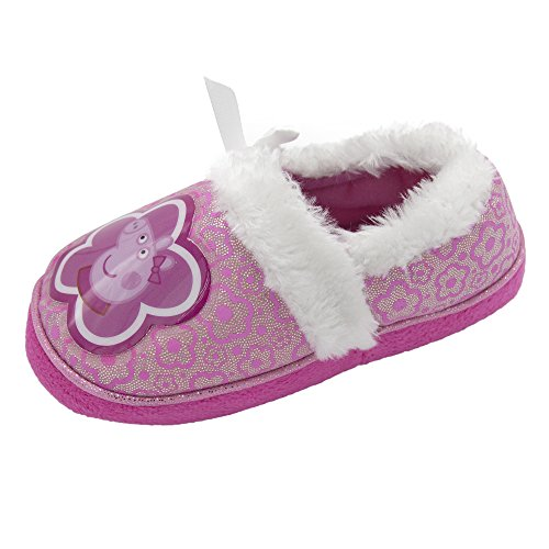 Peppa Pig Girls Slip On Slippers Purple & Silver (See More Sizes)