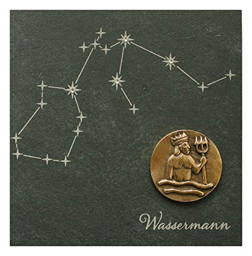 Nel segno delle stelle i segni zodiacali - aquario - di bronzo su rilievo di ardesia naturale con elementi swarovski