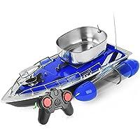 GBlife Mini RC Barco de Pesca para Detección de Peces, Barco de Señuelo de Pesca con almacén de Cebo, RC Inalámbrico Barco de alta Velocidad, Color Azul